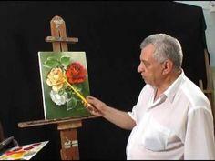 Bob Ross Painting Videos, Bob Ross Paintings, Painting Flowers Tutorial, Flower Tutorial, Flower Canvas Art, Flower Art, Acrylic Tutorials, Color Pencil Art, Indian Paintings
