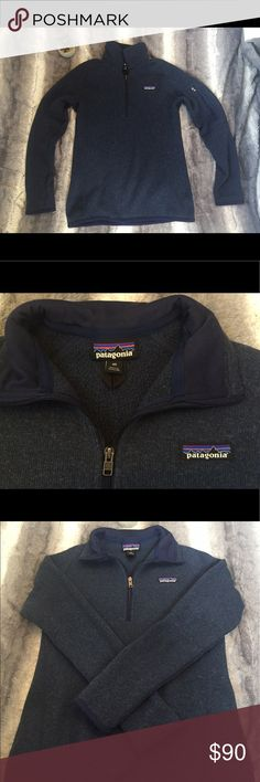 Half-zip Patagonia sweatshirt This navy patagonia half zip is in perfect condition, worn twice so there are absolutely no signs of wear! Patagonia Tops Sweatshirts & Hoodies
