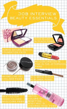 "Dressing appropriately yet stylishly for a job interview is one way to stand out, but of course, you must also put your best face forward. If you're new to makeup, don't have a clue on what to buy, and only have a limited budget - never fear, here are some of my recommendations! You can get all these for just P3,017, but even though they're inexpensive, they're a great foundation for your ""work makeup"" kit."