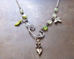 OOAK Bee Charm Necklace / Assemblage Repurposed Vintage Green Beads Leaf Silver Rose Flower Woodland Lariat BFF Gift HandMade Jewelry #1408