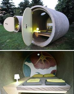 Das Park Hotel in Linz, Austria. The hotel is actually made up of a number of repurposed drainpipes that have been turned into rooms.