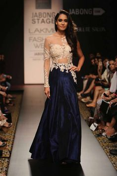 Navy blue and beige embroidered sheer anarkali. Beautiful dress very pretty. I love how it looks elegant and how it is flowing