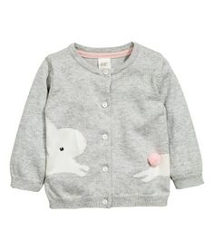 Check this out! Soft, fine-knit cardigan in cotton with a knit motif and appliqué. Round neck and buttons at front. - Visit hm.com to see more.