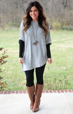 39 Cozy And Cute Winter Outfit With Legging - Outfits with leggings Cute Winter Outfits, Casual Fall Outfits, Outfits For Teens, Cool Outfits, Outfit Winter, Winter Dresses, Casual Dressy, Holiday Outfits, Stylish Outfits
