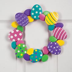 Metal Easter Egg Wreath by Maple Lane Creations™ - Zoom