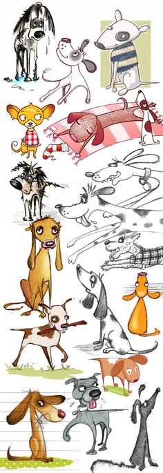 Dogs I've drawn. Chihuahua, Springer Spaniel, Dachshund, Staffie, Bulldog and lots of mixtures.
