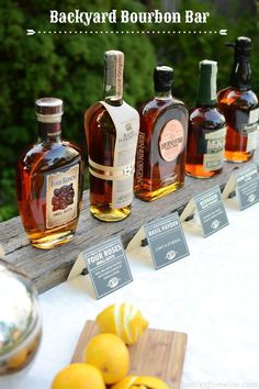 Bourbon tasting party anyone? How to Set Up a Backyard Bourbon Bar Whisky Bar, Whisky Tasting, Bourbon Cocktails, Cigars And Whiskey, Bourbon Whiskey, Wine Tasting, Scotch Whiskey, Irish Whiskey, Party Set