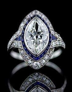 Art deco ring with a Marquise Cut diamond