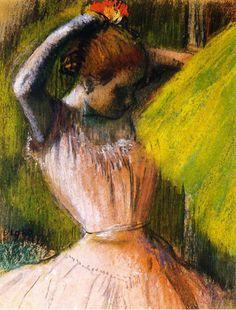 Dancer Arranging Her Hair - Edgar Degas - pastel - 1902