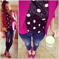 Sequins, pink & polka dots! #ponytail for the #coasttocoastchallenge! #jcrew #sequin polka dot top, though it was clearance, I regret buying this... #buffalojeans skinnies, #kohls Apt9 #blazer, #justfab pumps #2014closetremixchallenge #ootd #winterstyle #wiwt #fashion #fashionista #instalook #instagood #whatiwore #lookoftheday #instafashion #instastyle #igfashion #igstyle #mystyle #instalook #hapa #followme #stylediaries #fashiondiaries
