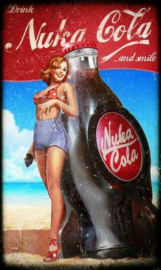 Fallout Nuka Cola, Fallout Posters, Fallout Fan Art, Fallout Concept Art, Pinup Art, Nuka Cola Poster, Vintage Ads, Vintage Posters, Fallout Wallpaper