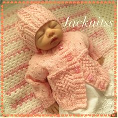 Pink Lacy Cardigan and a Hat Set to fit Baby Girl 0 to 3 months