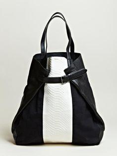 Dries Van Noten Women's Snake Skin Panel Tote Bag