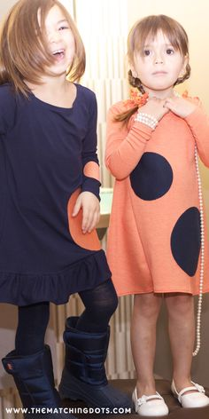 click on photo to shop this dress. The Matching Dots. Gift ideas for little girls. Matching friends and sisters. Made in USA kid's fashion. Be spotted!