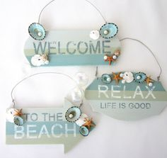 Beach Decor Christmas Ornament Signs  by beachgrasscottage on Etsy, $15.00