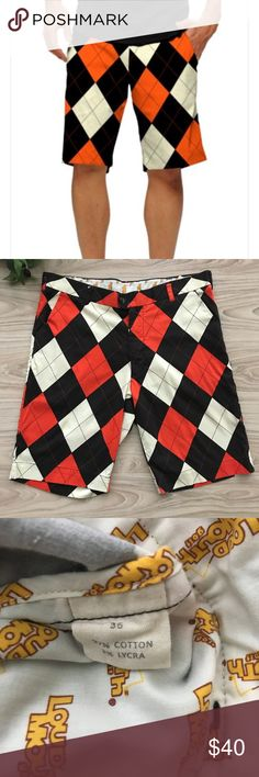 • Loudmouth • Black and Orange Golf Shorts Men's Loudmouth Black, Orange, and Off White Shorts size 36. They show minor wear but still have a lot of life left. 97% Cotton, 3% Lycra || Waist: 18 inches || Inseam: 10.5 inches Loudmouth Shorts #GolfShorts