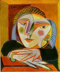 Abstract and very colorful bust portrait of Marie-Thérèse Walter by Pablo Picasso. Pablo Picasso, Kunst Picasso, Art Picasso, Picasso Paintings, Picasso Style, Georges Braque, Spanish Painters, Art Moderne, Summer Art