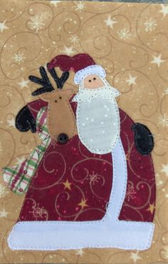 Here's Santa giving Blitzen a hug! Fabric Postcard made for the Fabric Postcard Swap. Pattern is by Nancy Halverson. Christmas Patchwork, Christmas Applique, Christmas Sewing, Christmas Love, Xmas Crafts, Christmas Projects, Felt Crafts, Santa And Reindeer, Santa Clause