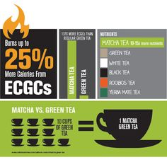 Ignite Metabolism Burn 40% More Calories  Matcha helps power a full workout and burns up to 40% more calories, from a potent antioxidant called ECGCs, scientifically known to boost fat metabolism and thermogenesis.