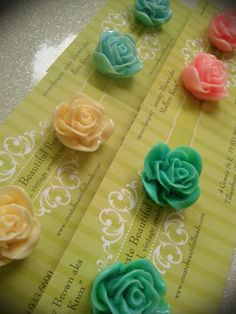 """1"""" rose studs :) available at Create Beautiful Beads on Facebook"""
