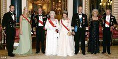 dailymail:  Norwegian Royal Visit to the UK in October 2005-Crown Prince Haakon, Crown Princess Mette-Marit, Duke of Edinburgh, Queen Elizabeth, Queen Sonja, King Harald, Duchess of Cornwall, Prince of Wales