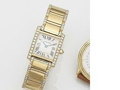 474fd442dacf Cartier. A lady s 18ct gold and diamond set quartz bracelet watch Tank  Française
