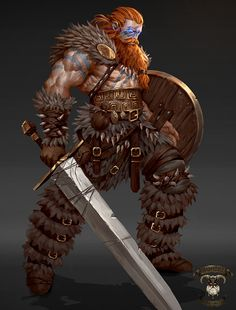 m Barbarian w shield sword ArtStation - Viking concepts-Valhalla Immortals, George Stratulat Fantasy Warrior, Fantasy Male, Fantasy Rpg, Medieval Fantasy, Fantasy Artwork, Character Concept, Character Art, Concept Art, Dnd Characters