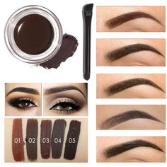 4c213375410 Professional Eye Brow Tint Makeup Tool Kit Waterproof High Brow 5 Color  Pigment Black Brown Henna Eyebrow Gel With Brow Brush-in Eyebrow Enhancers  from ...