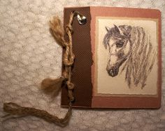 Horse country western Birthday Card for him. Ink and wash drawing. Brown textured card, string, silver western cowboy hat metal charm. OOAK.