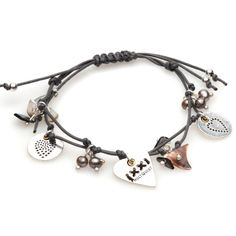 Hultquist Classic Silver and Gold Plated Grey Cord Heart and Pearl Bracelet | lizzielane.co.uk £25