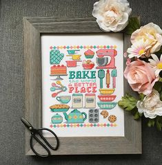 Make this kitchen/baking theme cross stitch design with the words Bake the World a Better Place. I mean, what cant be solved with baked goods? Stitch this whole piece together as shown or as separate motifs. Try grouping several stitched motifs together in frames or embroidery hoops, or