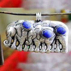Lapis Elephant Pendant Tibetan Nepalese Handmade Tibet Nepal PD402 #Handmade