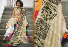 Silk Dupattas - Beige with little black warli and multicolour border- Tussar by Suta PC 15014 - 2