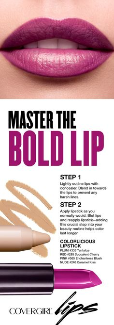 In this 2-part tip, learn how to keep lipstick from feathering outside the lines. Step 1: Lightly outline lips with concealer. Blend in towards the lips to prevent any harsh lines. Step 2: Apply lipstick as you normally would. Blot lips and reapply lipstick—adding this crucial step into your beauty routine helps color last longer.