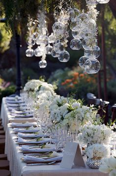 One big wedding trend we're seeing this year is banquet-style seating. From linens to arrangements, place settings to chairs, there are endless ways for banquet tables to be decorated. Check out some of our favorite ways to style your banquet tables. Reception Decorations, Event Decor, Wedding Centerpieces, Wedding Table, Wedding Reception, Our Wedding, Wedding Story, Floral Centerpieces, Rustic Wedding