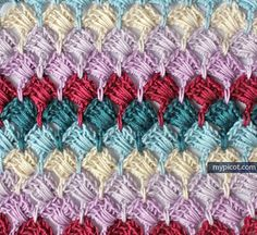 Simple square stitch @ MyPicot -  Free crochet pattern & tutorial
