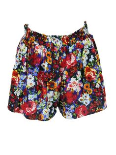 Alice + Olivia womens multi-color floral smocked elastic waist shorts S
