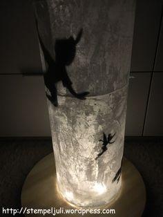 Glas Vase Windlicht Peter Pan Disney Stempeljuli Folia Lichterkette Serviettentechnik Nachtlicht