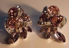 Vintage Signed EISENBERG Pink & Clear Swarovski Crystal Earrings 1962