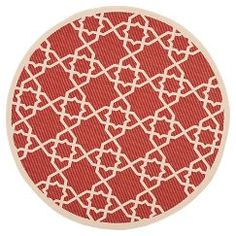 "Safavieh Belfast Patio Rug (6'7"" X 6'7"" Round) - RED"