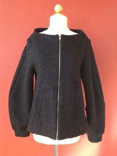 MARC JACOBS Black Silver Metallic Wool Blend Full Zip Jacket Size M #MarcJacobs #BasicJacket