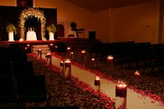 Giant Cylinders and Medium Cylinders with fresh petals and floating candles