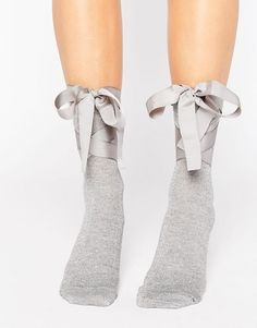 ASOS | ASOS Glitter Bow Strap Ankle Socks