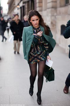 dress, jacket, tights, black, teal, fashion muiiito liindo e os detales são perfeiitos!!