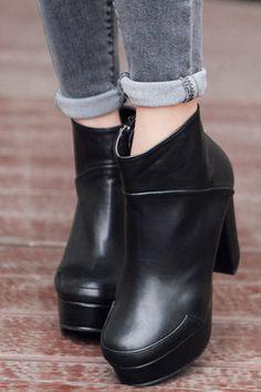Stylenanda Basic Platform Ankle Boots -$57.14