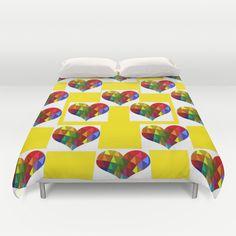 Checkerboard Rainbow Hearts Duvet Cover