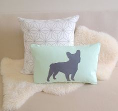 French Bulldog Pillow Cover Modern Mint Green & by VixenGoods