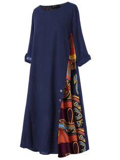 Women's Print Casual High Waist Crew Neck Patchwork Button Half Maxi A Line Dress Dresses – Kleidung Plus Size Long Dresses, Short Sleeve Dresses, Look Fashion, Fashion Outfits, Women's Fashion Dresses, Abaya Fashion, Stylish Outfits, Fashion Design, Cheap Dresses Online