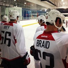 Photo by washingtoncaps - Patrick Wey, Connor Carrick  and Chance Braid await their turn for the skate test