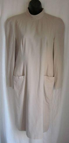 LOUIS FERAUD Beige CASHMERE WOOL Blend Lined Dress Sz 8 GERMANY #LouisFraud #WeartoWork